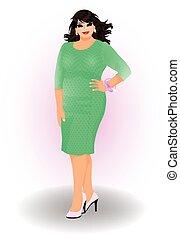 urban, kvinde, mode, plus, størrelse