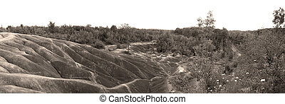 Urban land erosion in sepia color