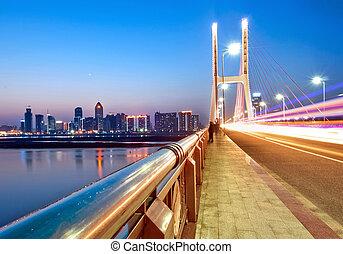 Urban Landscape, bridges and light trails.