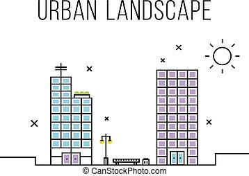 Urban landscape concept. Thin line