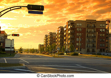 Urban landscape, hdr. Cloudy day and sunrise.