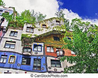Urban landscape. Hundertwasser House in Vienna. Austria