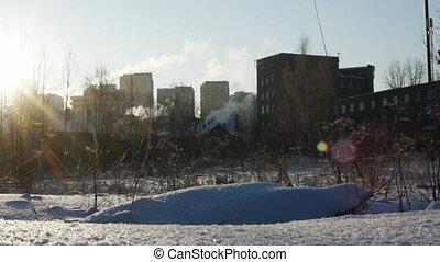 Urban landscape in a cold winter day