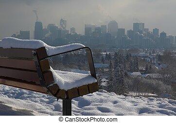 Urban landscape in deep, cold winter.