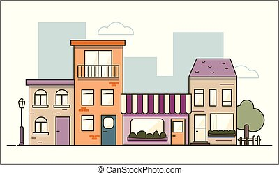 Urban landscape in flat line design isolated