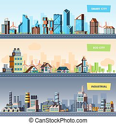 Urban landscape. Industrial smart and eco city modern buildings air pollution vector flat banners