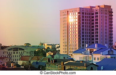 Urban landscape of the city of Anapa in Russia colored backgrounds
