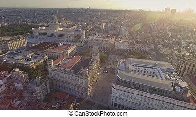 Urban Landscape Old Havana Drone Flying In The Sky - Drone...