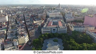 Urban Landscape Old Havana With Drone Flying In The Sky