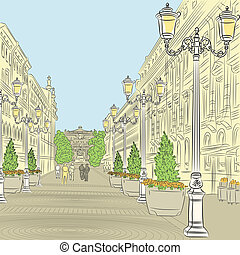 Urban landscape, the wide avenue with vintage buildings and beautiful lanterns in St. Petersburg, Russia