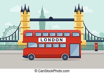 Urban Landscape. Vector illustration of London with famous landmarks. Flat Design Style.