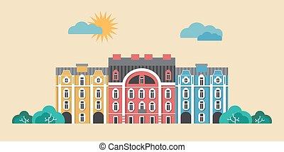 Urban landscape vector illustration. Summer town, city street concept. Flat buildings design
