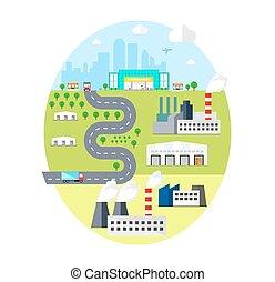Urban Landscape - with City, Factories, Warehouses, Transpor. Logistics concept.