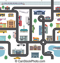 Urban landscape with different shops, buildings, offices and transport. Vector seamless city map in cartoon style