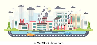 Urban landscape with factory - modern flat design style vector illustration