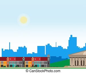 Urban landscape with large bright buildings and suburb with private houses on a background. Summer.