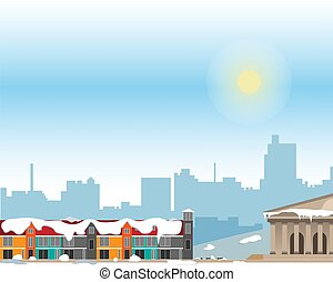 Urban landscape with large bright buildings and suburb with private houses on a background. Winter.