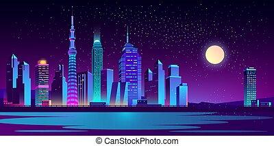 Urban landscape with neon skyscrapers vector