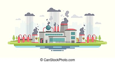Urban landscape with plant - modern flat design style vector illustration