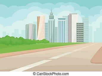 Urban landscape with road, high-rise buildings, green grass and bushes on background. Modern city. Flat vector design