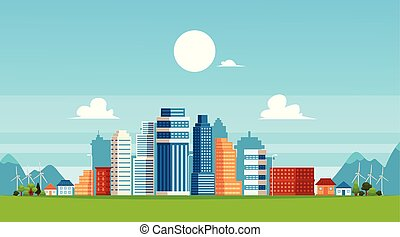Urban landscape with skyscrapers and suburb buildings flat vector illustration.