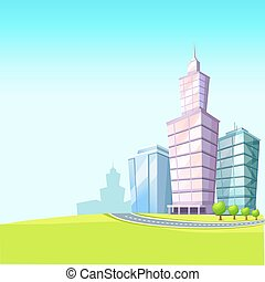 Urban Landscape with Skyscrapers Illustration