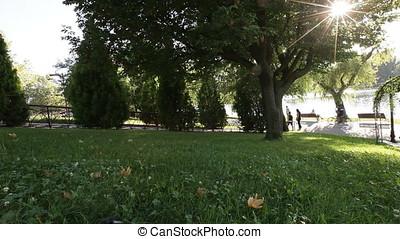 Urban Landscape with Walking People on Lake Shore - Urban...
