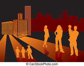 Background with skyscraper, silhouettes man, woman and children, vector illustration