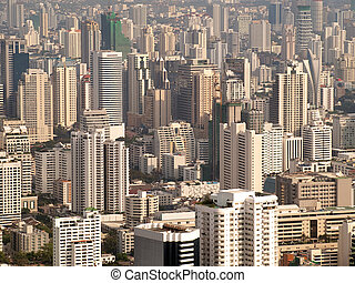 Urban life - cityscape of Bangkok city in the late afternoon...