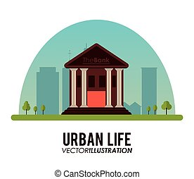 Urban life concept with architecture icons design, vector illustration 10 eps graphic.