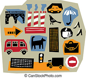 The set of 16 cut-out design elements with illustration of modern city life. All elements are individual objects. Colored vector illustration.