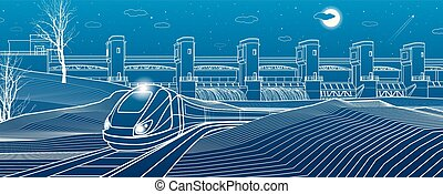 Urban life. Train goes along the lake bank. Hydro power...