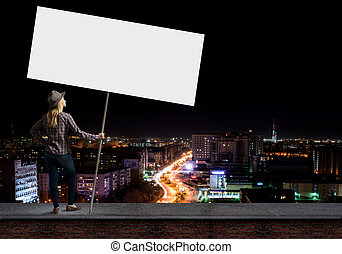 Urban life - Young girl in casual with white banner. Place ...