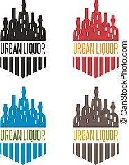 urban liquor vector set bottles with windows