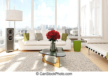 Urban loft with roses and sofa with view of a city