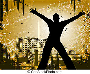 Urban man - Editable vector design of a man in a city with...