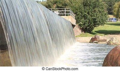 Urban man-made waterfall