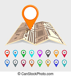 Urban map with a set of pointer icons depicting...