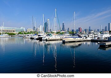 Urban marina and Chicago skyline