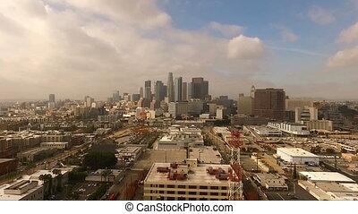 Urban Metropolis Los Angeles City Skyline Cloudy Blue Skies