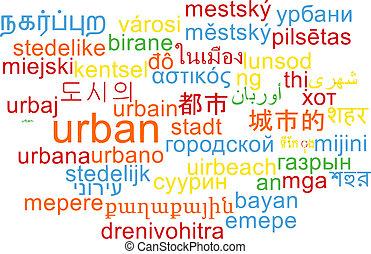 Urban multilanguage wordcloud background concept