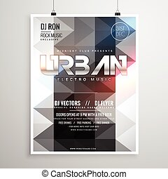 urban music party flyer template with abstract geometric shapes and glowing lights