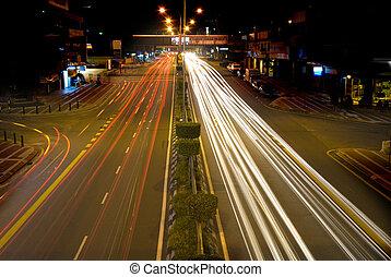 urban, natt, trafik