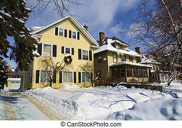Houses in a Northeastern US urban neighborhood swathed in deep snow.