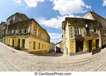 Urban neighborhoods photographed with fisheye
