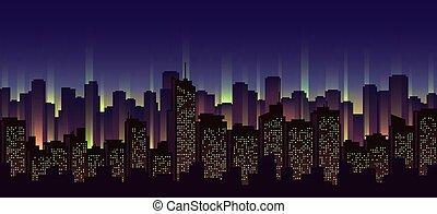 Urban neon landscape, nighttime cityscape vector...