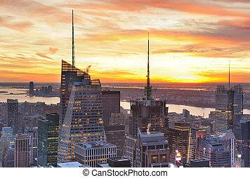 Urban New York City skyscrapers