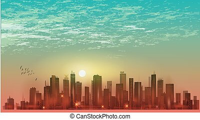 Urban night city landscape in moonlight or sunset and cloudy sky