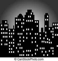Urban Night Cityscape Tall Skyscrapers