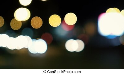Urban Night Scene. Defocused night traffic lights abstract...